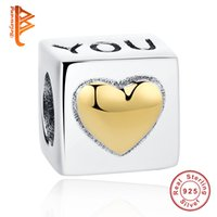 Wholesale Pandora I Love Charm - BELAWANG 925 Sterling Silver Charm Beads I Love You Gold Color Heart Beads Fit Pandora Bracelet&Bangle Jewelry Making Valentine's Day Gift