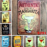 ingrosso segno bar birra-Bar Pittura Mojito Cuba Cocktail Cubano Vintage Targhe in metallo Retro Metallo Ferro Piastra Pittura Decorazione per Bar Cafe Home Club Pub Birra