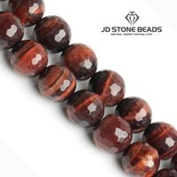 Wholesale Tiger Eye Faceted - Faceted Red Tiger Eyes Beads For Cambay Natural Stone Beads For Jewelry Making Beads DIY