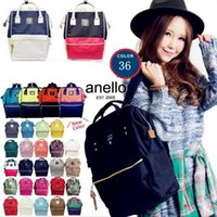 Wholesale japan school bags - ANELLO Japan Stripe Handle Backpack 36 Styles Large Capacity Campus Rucksack Canvas School Bag Mommy Backpack OOA2207