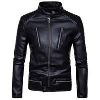 Wholesale Pu Leather Jacket Xxl - Men's Slim Leather jacket Men Water wash Motorcycle leather jacket outerwear jacket 2017 Brand New Top
