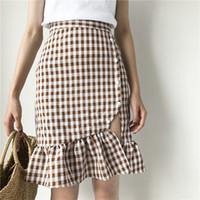 Wholesale Mini 2133 - Women elegant ruffles plaid checkered skirts faldas mujer back zipper retro ladies fashion streetwear mini skirt 2133