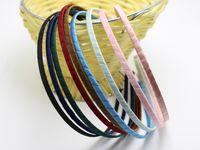 Wholesale 5mm Metal Headband Wholesale - 20 Mixed Color Satin Riddon Wrapped Metal Headbands 5mm Hair Bands Craft DIY