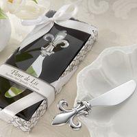 Wholesale Wholesale Gift Giveaways - Fleur de Lis Chrome Spreader Butter Knife 20PCS LOT Wedding Favor Kitchen Wedding Gifts and Unique Party favors Guest giveaway