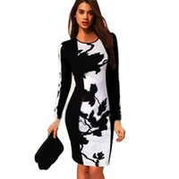 Wholesale Womens Work Out Shorts - Wholesale- 2016 Autumn Womens Celeb O-Neck Long Sleeve Contrast Floral Print Color Block Stretch Bodycon Dress