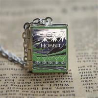 Wholesale Hobbit Silver - 12pcs The Hobbit Book Locket Necklace, SILVER tone