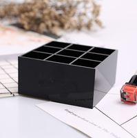 Wholesale Lipstick Case Holders - Luxury C black Acrylic 9 grids storage lipsticks holder Make-up Storage Case Desk Sundries Organizer VIP gift With box