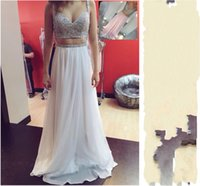 Wholesale Perfect Blue Homecoming Dress - Perfect Two Piece Prom Dresses Chiffon Sequin Beaded Spaghetti Straps Floor Length Homecoming Dress Long Evening Gowns