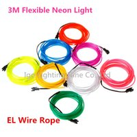 Vente en gros - Citron / Rouge / Jaune / Vert / Blanc / Bleu / Violet / Rose 3M Flex Flexible Neon Light EL Cable Rope Tube with Controller Livraison gratuite