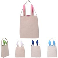 Wholesale Children Gifts Wholesale Shop - Easter Rabbit Ears Handbag diablement fort 5colors INS Bunny Ears bag shopping bag Hand-painted Diy bag for children nad adult Holiday gifts