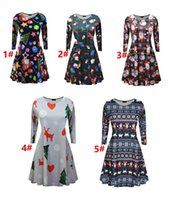 Wholesale Gown Halloween Costumes - Adult Christmas tree printing Dresses Christmas long sleeve dress print Xmas costume Women Santa Claus dress Maternity Clothing