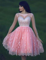 Wholesale Diamond Short Homecoming Dresses - Sweety Design Short Pink Homecoming Dresses Long Sheer Sleeve Backless Diamonds Lace Christmas 2017 Party Gowns vestido curto Custom