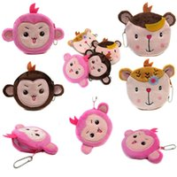 Wholesale Chinese Monkey Pendant Zodiac - Wholesale- New Arrival Monkey Coin Purses Chinese Zodiac Mini Wallet Card Holder Case Pendant Money Bags