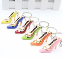 Wholesale Iron High Holder - 10pcs lot Six colors High heels key chain High-heeled shoes handbags accessories car key ring chain pendant Multicolor high heel key ring
