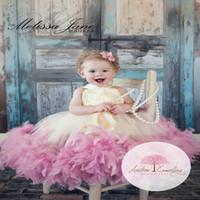 festzug kleider kostenlos großhandel-Kleider der Art- und Weisemarken-kleinen Mädchen Prinzessin Lovely Girls Pageant Dresses Jewel Pink Wedding Dresses Führen Sie die formale Kommunion durch Freies Verschiffen