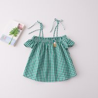 Wholesale Wholesale Off Shoulder Tees - Everweekend Girls Ruffles Plaid Pineapple Bow Tees Cute Baby Off Shoulder Summer Holiday Tops