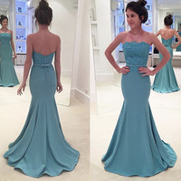 Wholesale Strapless Nude Beaded Mermaid - 2017 Fashion Evening Gowns Off the Shoulder Strapless Appliqued Lace Sleeveless Sweep Train Mermaid Prom Dresses Fast Shipping