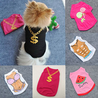 Wholesale Dog Apparel Mesh Shirts - Summer Pet Vest Clothes Gold Necklace T-shirts Small Dogs Net Mesh Apparel