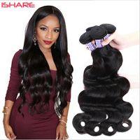 Wholesale Cheap Wigs Weaves - Cheap 100 Natural Human Hair Weave Body Wave Brazilian Hair Peruvian Malaysian Indian Cambodian Hair Bundles Can Be Dye Ombre