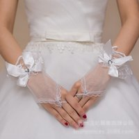 Wholesale High Fashion Wedding Gloves - High Quality Ivory Fashion New Style Bridal Gloves Short Wrist Length Elegant Rhinestone Bridal Wedding Gloves bride glove Free Shipping