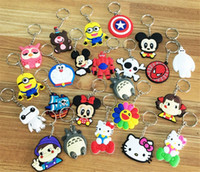 Wholesale Stainless Steel Round Carabiner - Mixed lot diy Hot beautiful soft PVC silicone charms Keychain cute cartoon anime gift key pendant rubber Key chain Ring jewelry
