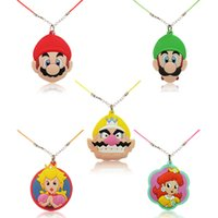 5PCS Anime Cute Super Mario Bros Cartoon Moda Pingente Pingente Colares Acessórios Girl / Boy Corda Cadeia Chocker Kids Gifts Favores de festa