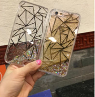 Wholesale Plastic Grid Plate - moving Glitter Star electroplate Quicksand Liquid case grid striped line wave plating PC hard Back cover For Iphone 5 6 6plus 7 7plus