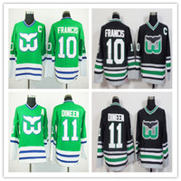 Wholesale ron francis jersey - Ice Hockey Hartford Whalers Jersey #1 Mike Liut 10 Ron Francis 11 Kevin Dineen 16 Patrick Verbeek Team Green Color Black Stitched