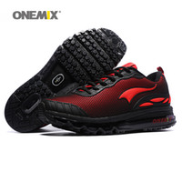Wholesale Rubber Sole Boots Men - ONEMIX Man Running Shoes For Men Air Cushion Shox Sole Athletic Trainers Mens Black Red Sports Shoe Outdoor Waterproof Walking Sneakers 2018