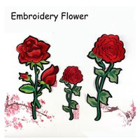 Wholesale Children Iron Sew Patches - 3 Pcs lot Top Patches Iron-on Sew-on Red Rose Flower Embroidery Patch Motif Applique Children Women DIY Clothes Sticker Wedding
