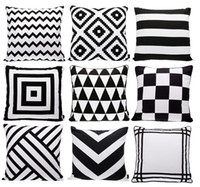 Nonwoven black and pink rugs - Modern Black And White Cushion Cover Geometric Triangles Chevron Stripes Plaids Rhombus Rug Pattern Cushion Covers Sofa Throw Pillow Case