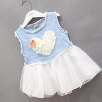 Wholesale Demin Jeans Kids - Wholesale- Cute Baby Jeans Lace Flower Love Tutu Dress Kid Girls Ruffle Demin Tulle sundress