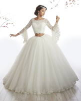 Wholesale Debutante Gowns Tulle - Arabic Style Ivory Lace Long Sleeve Two Piece Quinceanera Dress Gowns vestidos de 15 anos debutante Ball Gown Long Prom Dress ADQ010