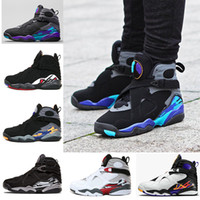 Wholesale Canvas Aqua - 2018 New 8 VIII men basketball shoes Aqua black purple Chrome Playoff red Three Peat 2013 RELEASE Athletic sports sneakers size 41-47