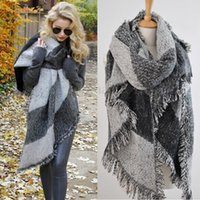 Wholesale Large Print Scarf - New Vintage Tartan Check Oversize Large Blanket Scarf Shawl Cape Wrap Warm Coat