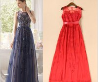Wholesale Dinner Long Section Dress - Europe and the United States 2017 spring and summer new women's embroidery long section dress dinner banquet K0421