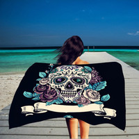 Wholesale Thin Cotton Blanket - Rectangle Beach Towel Thin Cotton Skull Flower Printing Shower Towel Blanket Shawl Yoga Mat Wholesale