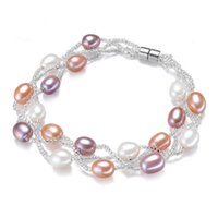 Wholesale Natural Fresh Water Pearls - 7-8MM Pure Natural Fresh Water Oyster Pearls Bracelet Fashion Multi-Layer Pearl Jewelry With Magnetic Buckle Bracelets For Women