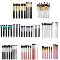 Wholesale Cosmetic Tool Professional - Kabuki Makeup Brushes 10pcs Professional Cosmetic Brush Kit Nylon Hair Wood Handle Eyeshadow Foundation Tools Free Shipping ZA2026