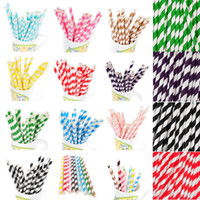 Wholesale Drinking Straws Kids - 50pcs Colorful Vintage Biodegradable Paper Drinking Straws For Kids Birthday Party Wedding Decorations