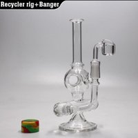 """Wholesale Inline Glass - 8"""" Recycler oil rig glass bong water pipe Inline perc dab rig with 4MM quartz banger nail 14.5MM"""