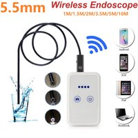 Wholesale Endoscope Wireless - Wifi 5.5mm Lens 1 1.5 2 3.5 5 10M Cable Android IOS Endoscope Camera 720P Video Inspection Snake camera Waterproof 2.0MP Borescope Wireless