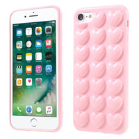 3D Heart Case para iphone x 8 7 plus con cuerda de cordón Soft Lover silicone jalea Phone Cover piel Shell con cuerda colgante de colores