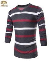 Wholesale Stripe Long Sweater Slim - Wholesale- MIUK Stripes Printing Men Sweater V Neck Slim Fit Men Sweaters Fashion Hot Sale Spring Wear Top M~XXL Blue