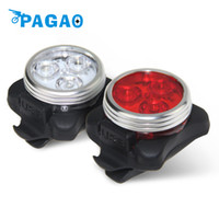 Wholesale Light Color Wheel - PAGAO Practical Cycling Bike 3 LED Head Front Rear Tail light Rechargeable Battery With USB Charging Cable 2 Color Available
