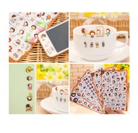 Wholesale Iphone Stickers For Girl - Anti-radiation Mini Stickers Cute Girl Cell Phone Diary Computer Stickers PVC Material Creative Cartoon Small Gifts Cell Phone Skins
