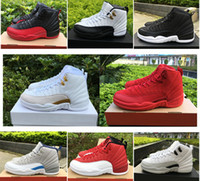 Wholesale blue ball game - 2018 12 OVO new White Gym Red Taxi Blue Suede Flu Game mens basketball shoes cheap Black Nylon PSNY basket ball sneakers