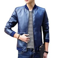 Wholesale Cheap Leather Brown Jackets - autumn Winter High quality men Faux Leather jackets plus size 4XL male brown zipper casual black jacket Cheap cool coat slim fit outweat red