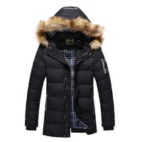 Wholesale Mens Natural Fur Hats - Mens Winter Jacket Parkas Fur Hood Collar Snow Coats Cotton Padded Thicken Outwear Windbreak Warm Jacket Christmas Gift 2017