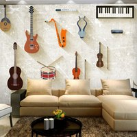 Wholesale Paper Wallpaper Baby - Wholesale-Wholesale Music Instruments Piano&Guitar 3d Photo Murals for Child Baby Room and Bedding room 3d Wall Murals Fresco Home Decor